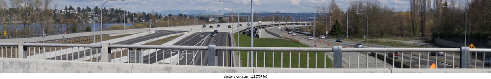 Traffic on SR520 floating bridge freeway along Lake Washington, Seattle