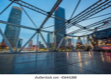 traffic on steel bridge,tianjin china.