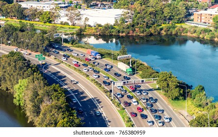 Traffic on a Sydney interstate, aerial view.