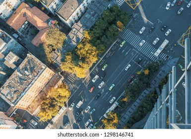 Traffic on a urban highway drone view in Chengdu, China