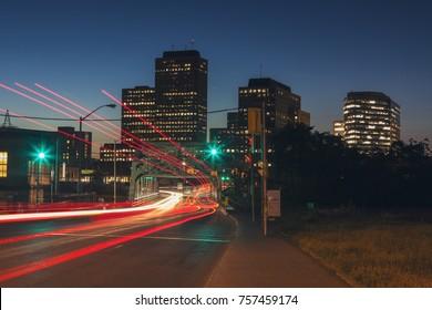 Traffic in Ottawa at night. Ottawa, Ontario, Canada.