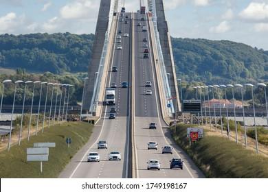 Traffic at Pont de Normandie, bridge over river Seine near Le Havre in France