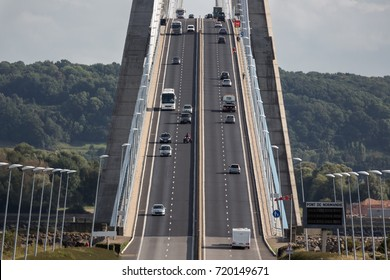 Traffic at Pont de Normandie, bridge over river Seine near Le Havre in France