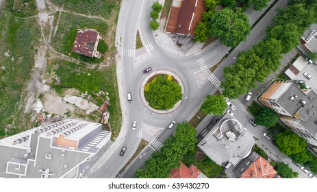 Traffic Road Circular Intersection In The City Shot From High Above