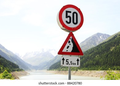 traffic road sign in the mountains
