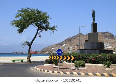 Traffic roundabout next to the white sand beach in Mindelo Sao Vicente.