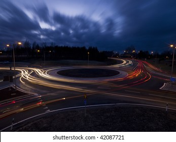 Traffic roundabout shot with long exposure time at night time