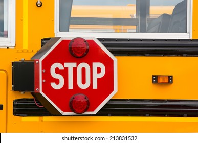 Traffic safety stop sign on a school bus