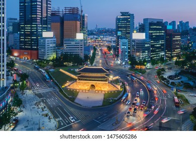 Traffic of Seoul City Skyline at Namdaemun Gate,South Korea