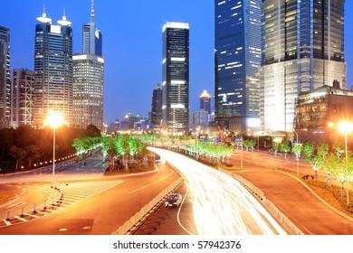 traffic in shanghai at night