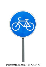 Traffic sign of bicycle lane or trail for cyclists, isolated on white