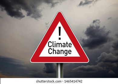 Traffic sign with climate protection, co2 emission and co2 tax with clouds in the background