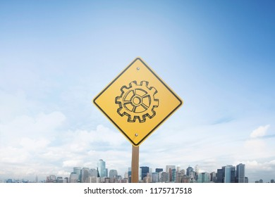 Traffic sign concept cogwheel on sign