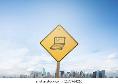 Traffic sign concept laptop