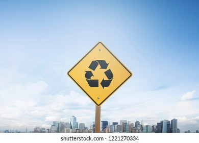 Traffic sign concept recycling icon