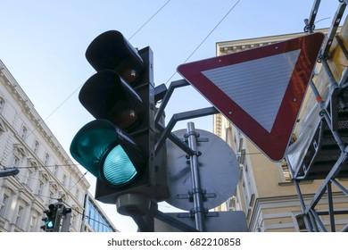 traffic sign in cross way in vienna, austria