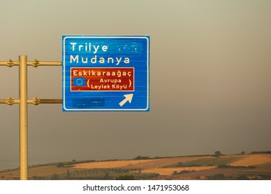 Traffic sign depicting the direction for Eskikaraagac province which is a European Stork Village (Avrupa Leylek Koyu) under preservation.