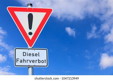 Traffic sign, driving ban for diesel vehicles in German