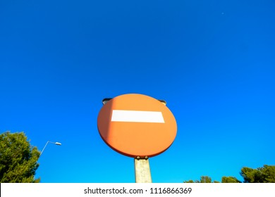 Traffic sign at the entrance of a highway in Catalonia Spain