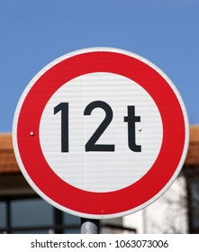 traffic sign  forbidden more than 12 tons - Shutterstock ID 1063073006