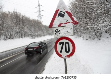 traffic sign and fresh snow
