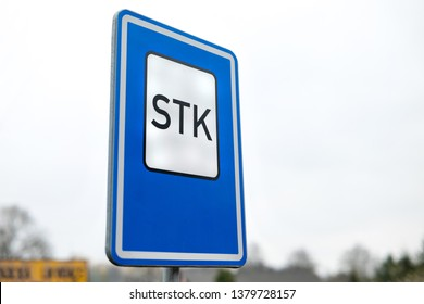 The traffic sign in front of STK (Stanice Technicke Kontroly in Czech - Technical Inspection Station in English) where vehicle condition is regularly checked - Shutterstock ID 1379728157