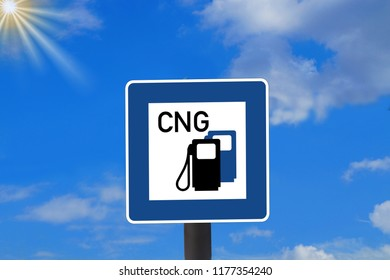 A traffic sign indicating a CNG gas station