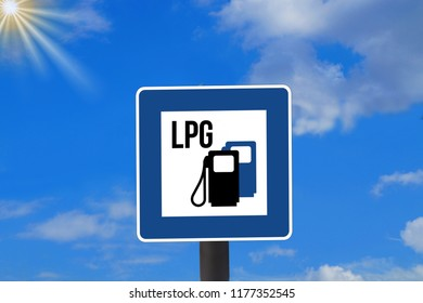 A traffic sign indicating an LPG gas station