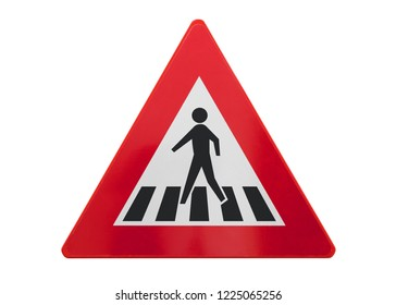 Traffic sign isolated - Pedestrian crossing - On white