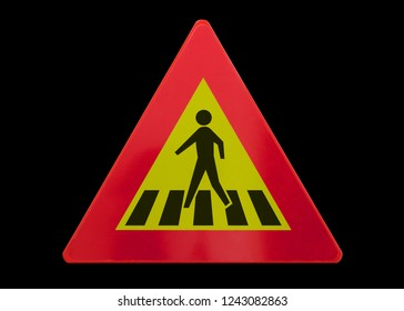Traffic sign isolated - Pedestrian crossing - On black