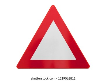 Traffic sign isolated - Triangle (empty) - On white