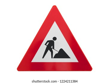 Traffic sign isolated - Under construction - On white