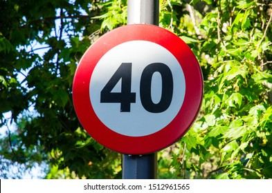 Traffic sign maximum speed 40 kilometers per hour. Max 40 km. speed limit in the city