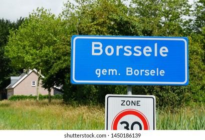Traffic sign with the name of Borssele (Borsele municipality), a town in Zeeland province in the Netherlands.
