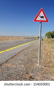 Traffic sign on Golan Heights, warning about deers nearby. Israel.