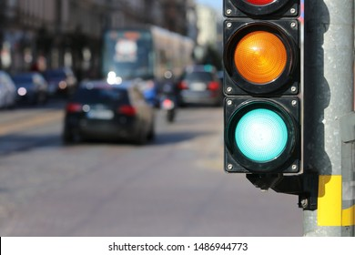 Traffic sign  on the metal  post. Green traffic light.