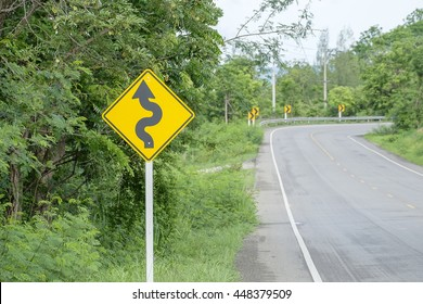 Traffic sign on mountain route