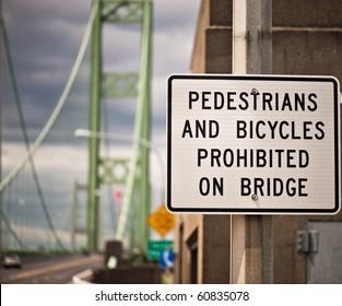 traffic sign on the Tacoma Narrows Bridge.