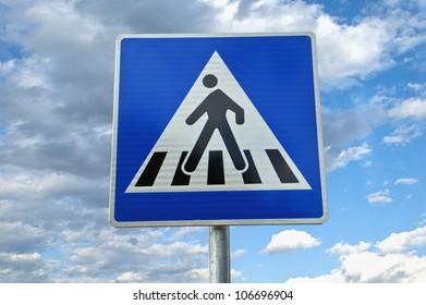 Traffic sign. pedestrian crossing