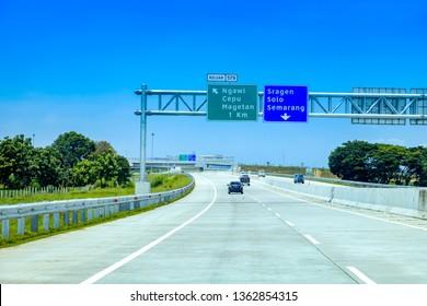 Traffic Sign Post at Trans Java Kertosono - Salatiga Toll Road, Ngawi Cepu Magetan To Sragen Gemolong Purwodadi