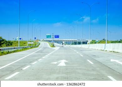 Traffic Sign Post at Trans Java Kertosono - Salatiga Toll Road, Surabaya to Kertosono to Nganjuk