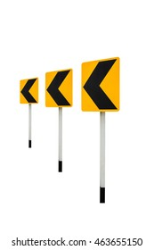 traffic sign: sign of right sharp curve isolated on white background with clipping path