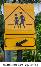 Traffic sign School warning sign here with green leaf background