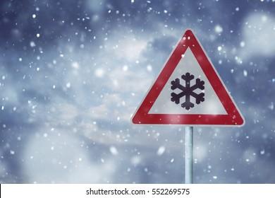 traffic sign snow