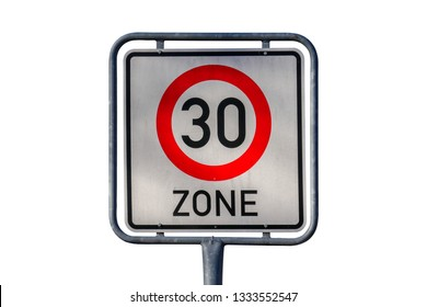 Traffic sign speed limit 30s zone, white background