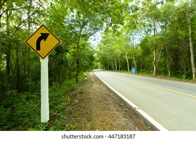 Traffic sign tell the curve on the road