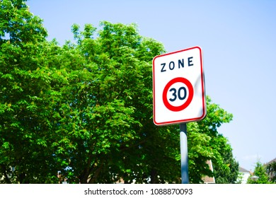 Traffic Sign for Thirty (30) Speed Limit Zone for Residentital Zone Area
