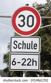 A traffic sign with thirty kilometers per hour permissible speed limit, Germany
