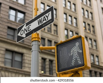 Traffic signal and one way sign in New York City