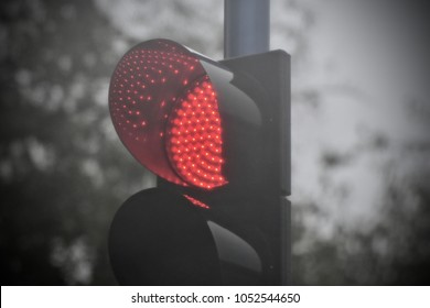 Traffic signal stop lights captured in a rainy day in Bangalore India stock photo